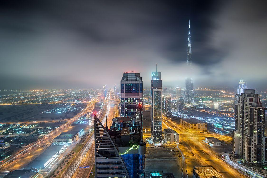 Фото бесплатно ночь, дорога, здания - на рабочий стол