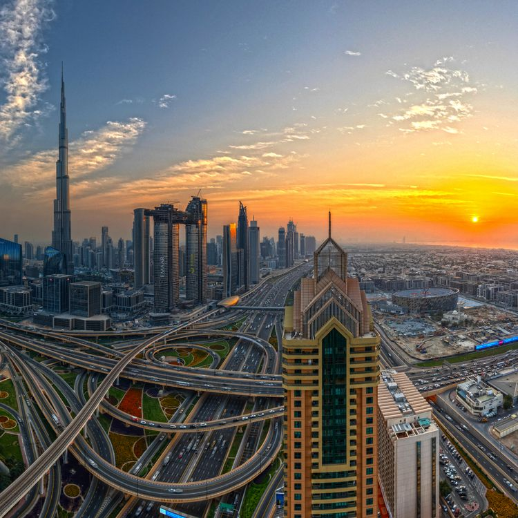 Фото бесплатно Дубай, закат, город - на рабочий стол