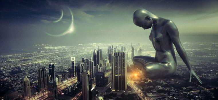 Заставки фантазия,город,ночь,scifi,скульптура,памятник,девушки,женщина,луна,здание,вперед,темный