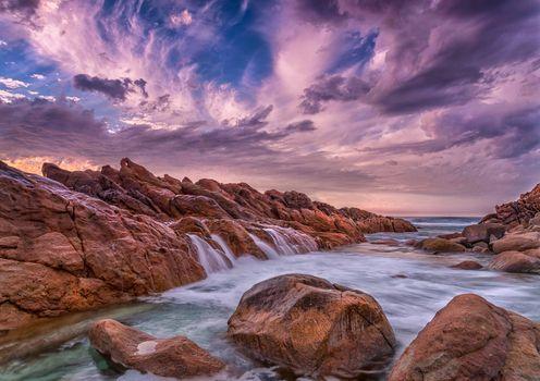 Бесплатные фото Западная Австралия,море,скалы,водопад,волны,закат,небо,облака,природа,пейзаж