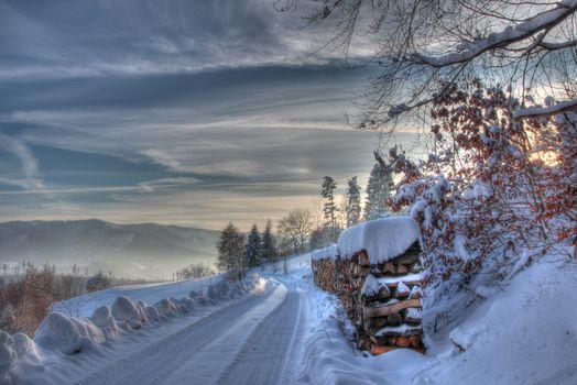 Фото бесплатно пейзаж, дрова, зима