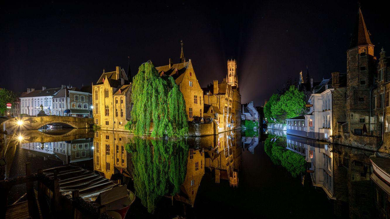 Фото бесплатно Бельгия, Брюгге, ночь, огни, иллюминация, ночные города, город