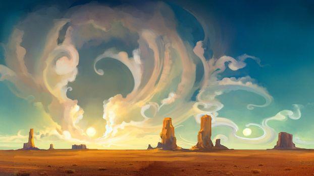 Photo free fantasy landscape, canyon, clouds