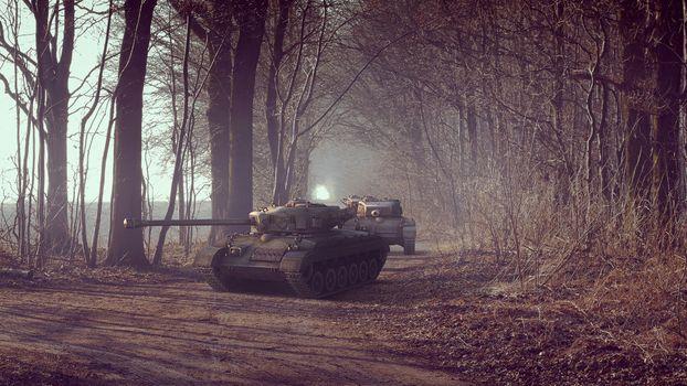 Бесплатные фото Танк Т32,лес,дорога,несколько танков,осень,военная техника