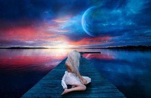 Фото бесплатно закат солнца, озеро, планета