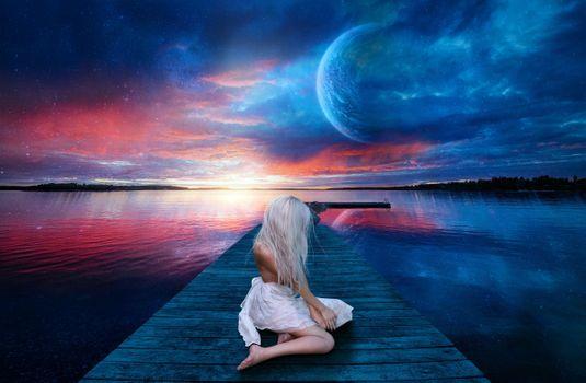 Photo free sunset, lake, planet