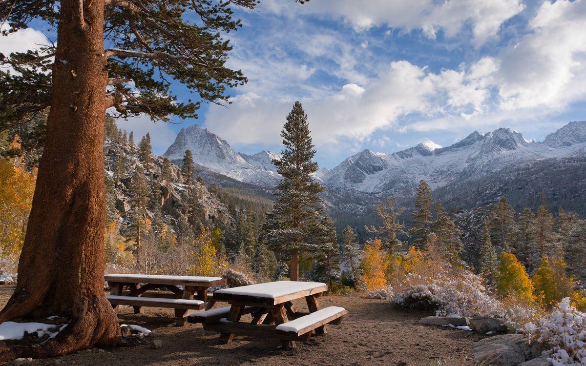 Обои осень, скамейка, облака картинки на телефон