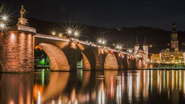 Фото бесплатно Старый мост в Гейдельберге, Гейдельберг, ночь