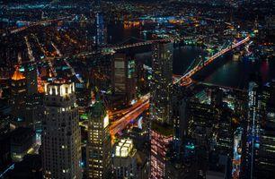 Фото бесплатно огни, США, ночь