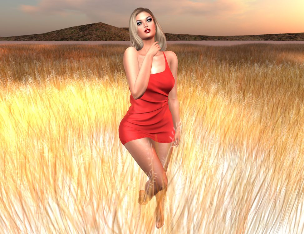 Фото бесплатно закат, поле, виртуальная девушка, art, девушки, макияж, лицо, косметика, стиль, гламур, красота, модель, красивый макияж, красотка, настроение, рендеринг