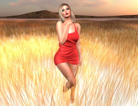 Фото бесплатно закат, поле, виртуальная девушка