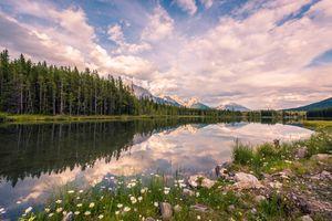 Фото бесплатно Kananaskis, Alberta, Канада, озеро, лес, небо, облака, деревья, природа, пейзаж