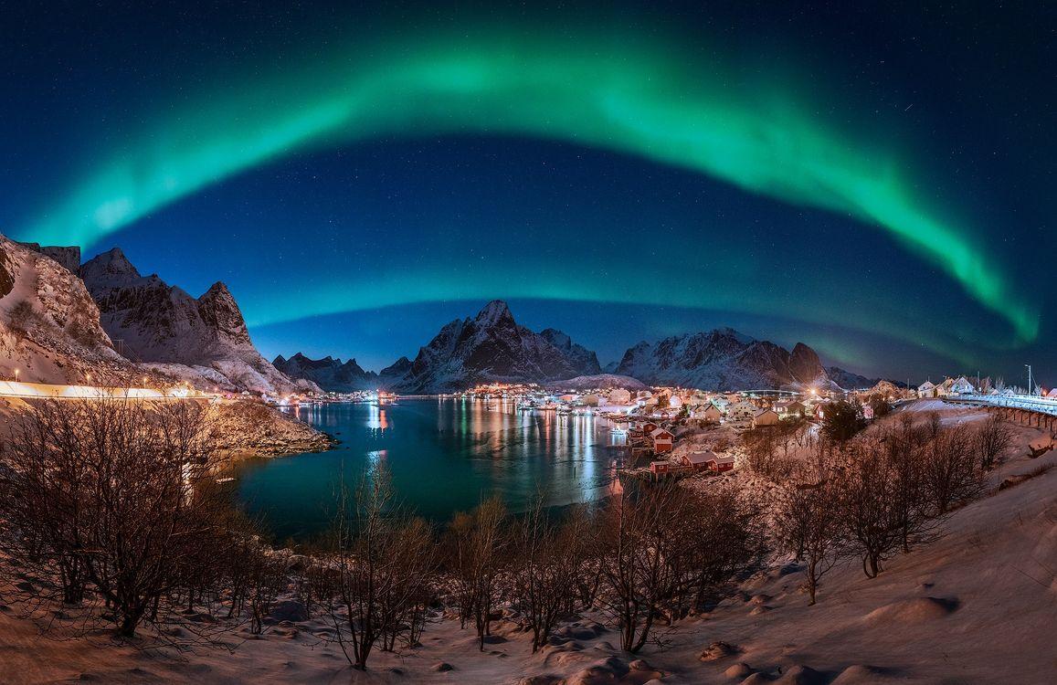 Фото бесплатно Лофотенские острова, Норвегия, ночь - на рабочий стол