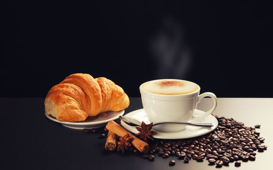 Photo free coffee beans, cappuccino, Cup