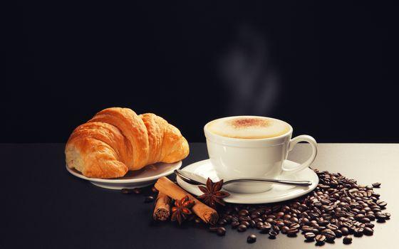 Фото бесплатно кофейные зерна, капучино, чашка