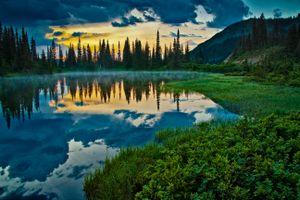 Бесплатные фото Reflection Lake, Mount Rainier National Park, Национальный Парк Маунт-Рейнир, закат, озеро, горы, деревья