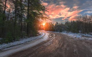 Фото бесплатно закат, зимняя дорога, пейзаж