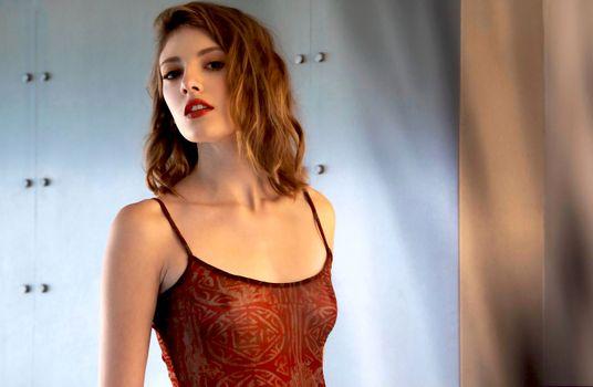 Бесплатные фото Лена Андерсон,модель,красивая,брюнетка,чувственные губы,белье,видеть сквозь,мягкий фокус,портрет