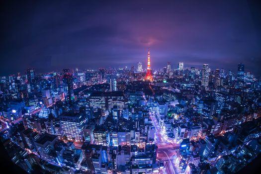 Обои Tower Tokyo,Токио,Япония,ночь,огни,иллюминация