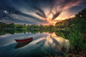 Бесплатные фото закат,озеро,лодка,лебедь,лес,деревья,природа
