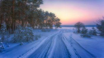 Бесплатные фото дорога на замерзшее озеро,зима,дорога,закат,снег,лес,деревья