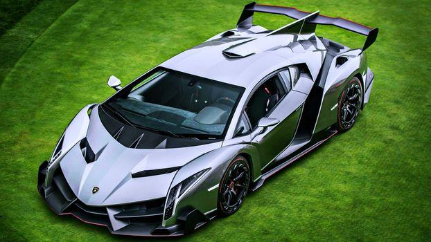 Бесплатные фото автомобили,трава,серый,зеленый,Ламборгини,двигатели,серебро,скорость,суперкары,venenno,ядовитую