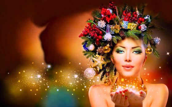 Фото бесплатно красивый макияж, гламур, венок