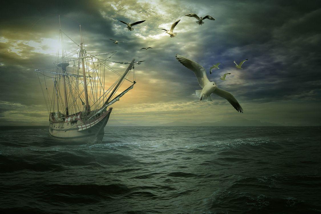 Картинка закат, море, волны, корабль, парусник, птицы, чайки, тучи, пейзаж на рабочий стол. Скачать фото обои пейзажи