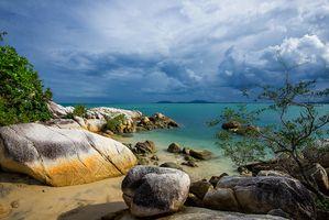 Заставки море, остров, закат