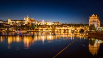 Фото бесплатно Карлов мост, ночь, ночной город
