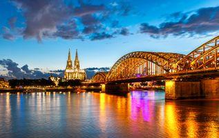 Фото бесплатно Кёльн, Германия, панорама, город, рассвет, иллюминация