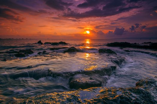 Photo free the province of West Java, sunset on the beach Lodge, Indonesia sunset