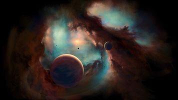 Фото бесплатно звезды, туманность, цифровая вселенная