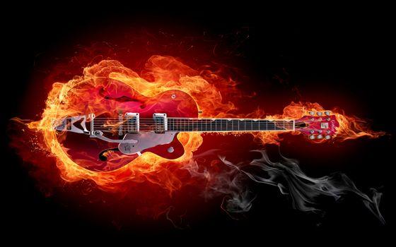 Фото бесплатно огонь, гитара, инструмент