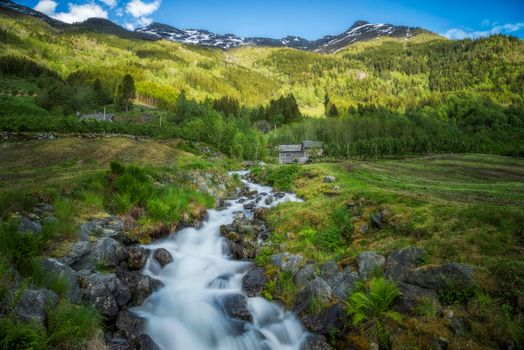 Фото бесплатно норвегия, река, домик