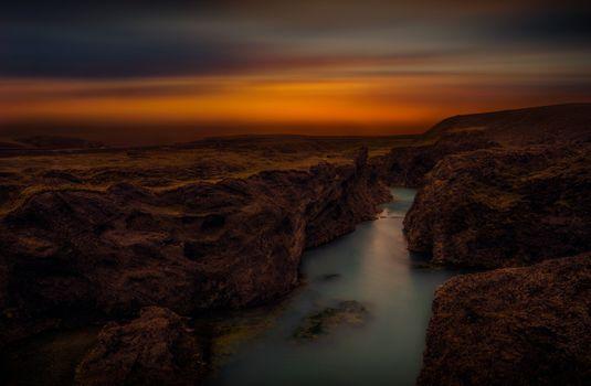 Фото бесплатно каньон, закат, река, небо, мрак