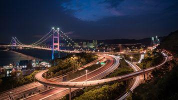 Бесплатные фото Гонконг,Мост,подвески,Tsing Ma,Ма Ван,Цин Йи,ночь