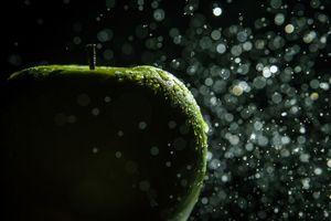 Заставки зеленое яблоко, бок, макро