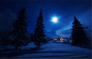 Бесплатные фото ночь,луна,зима,сугробы,сумерки,деревья,домик
