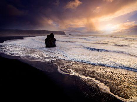 Заставки закат,море,спокойствие,релаксация,волны,берег,пляж,скалы,пейзаж