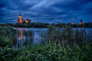 Фото бесплатно Штральзунд, церковь Святой Марии, Германия, водоём, сумерки, пейзаж
