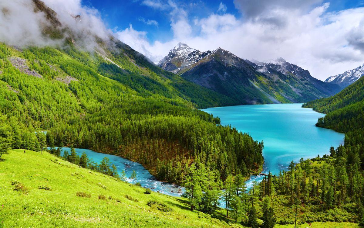 Фото бесплатно Алтай, Сибирь, озеро, река, горы, деревья, природа, пейзаж, пейзажи