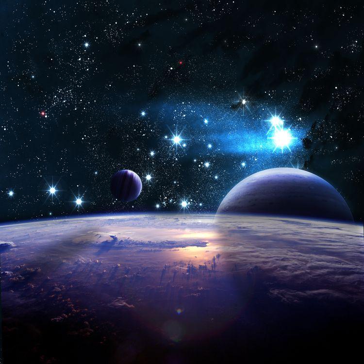 Фото бесплатно Астрономии, галактики, свечение планеты - на рабочий стол