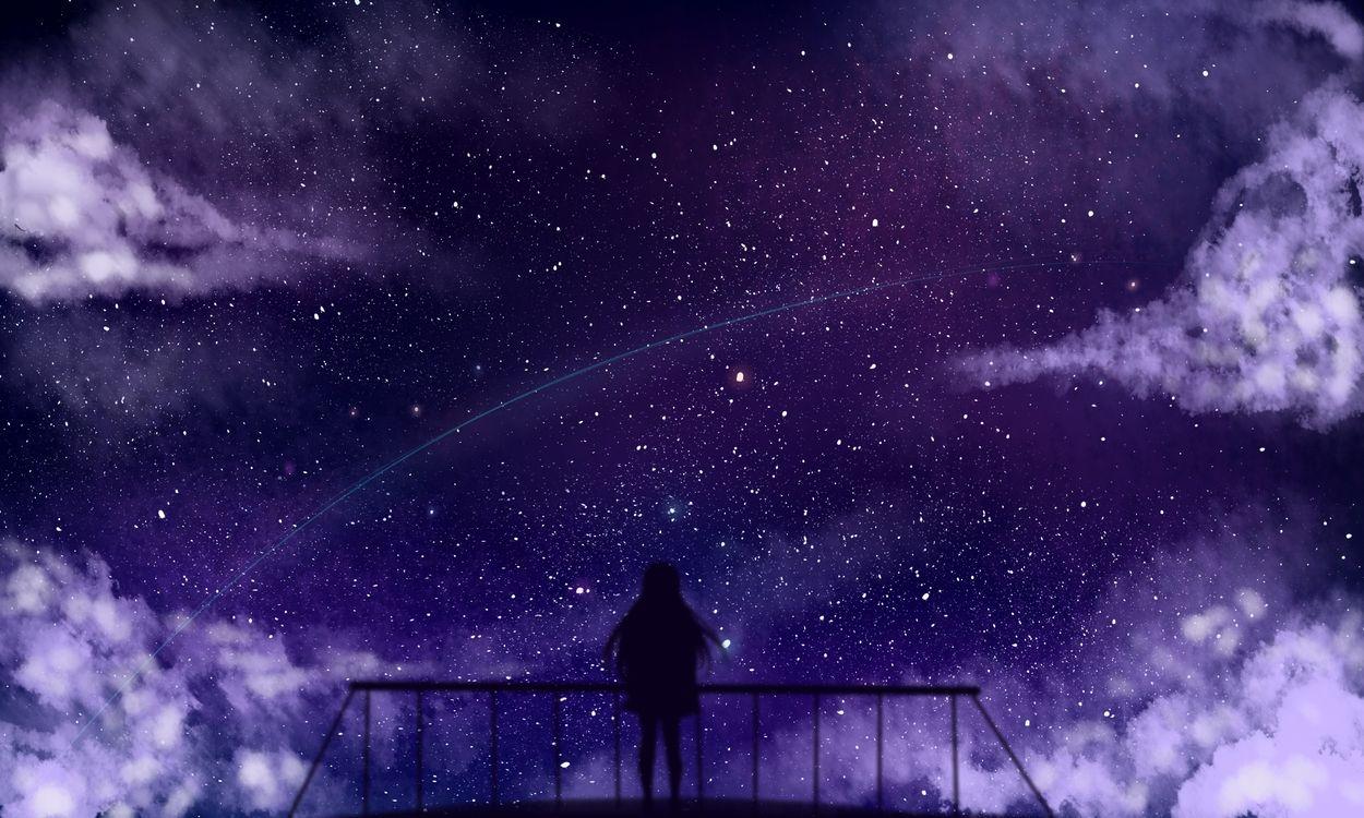 Фото бесплатно аниме девушка, силуэт, звезды - на рабочий стол