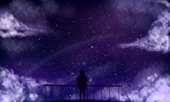 Заставки аниме девушка, силуэт, звезды