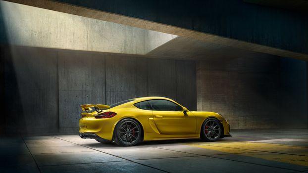 Yellow Porsche Cayman
