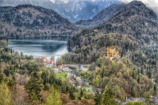 Photo free Bavaria, Schwansee, Twilight and the mountain castle Hohenschwangau