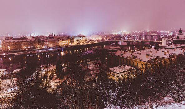 Заставки город, Зима в Праге, освещение
