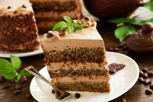 Фото бесплатно торт, слои, шоколадный, крем