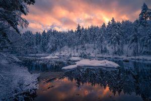 Заставки закат, сумерки, река, зима, лес, деревья, пейзаж